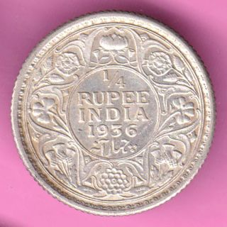 British India - 1936 - 1/4 Rupee - King George V - Rarest Silver Coin - 50 photo