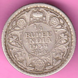 British India - 1934 - 1/4 Rupee - King George V - Rarest Silver Coin - 49 photo