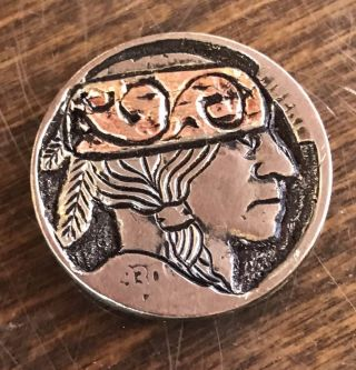 Real Copper Inlay Classic Hand Carved Hobo Nickel Coin Art 33 photo
