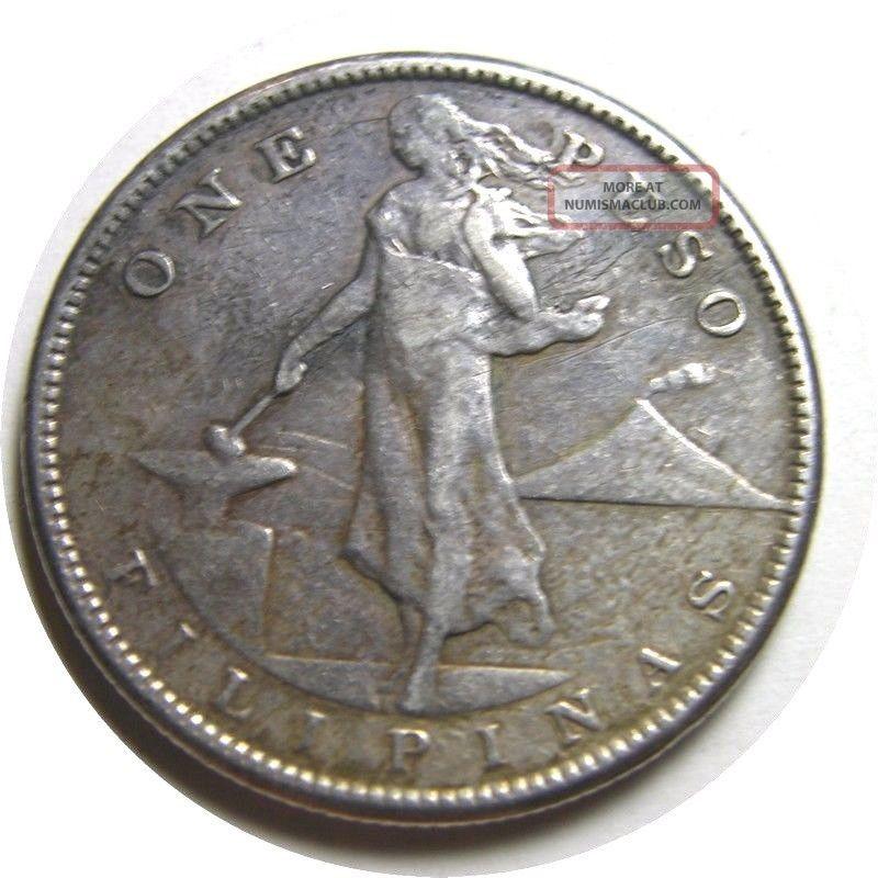 Elf Philippines Usa 1 Peso 1909 S Silver Philippines photo