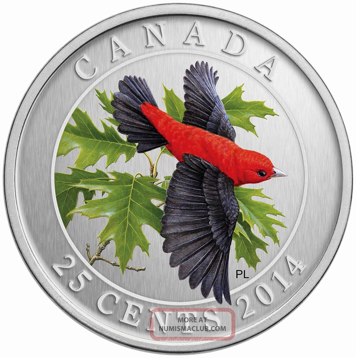Canada - 2014,  25 - Cent Colored Coin Bird - The Scarlet Tanager,  No Box Coins: Canada photo