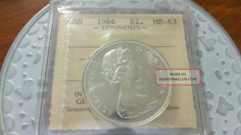 1966 Silver Dollar Iccs Ms 63 Coins: Canada photo