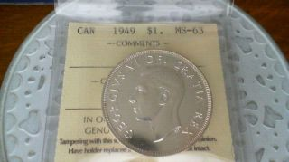 1949 Silver Dollar Iccs Ms 63 photo