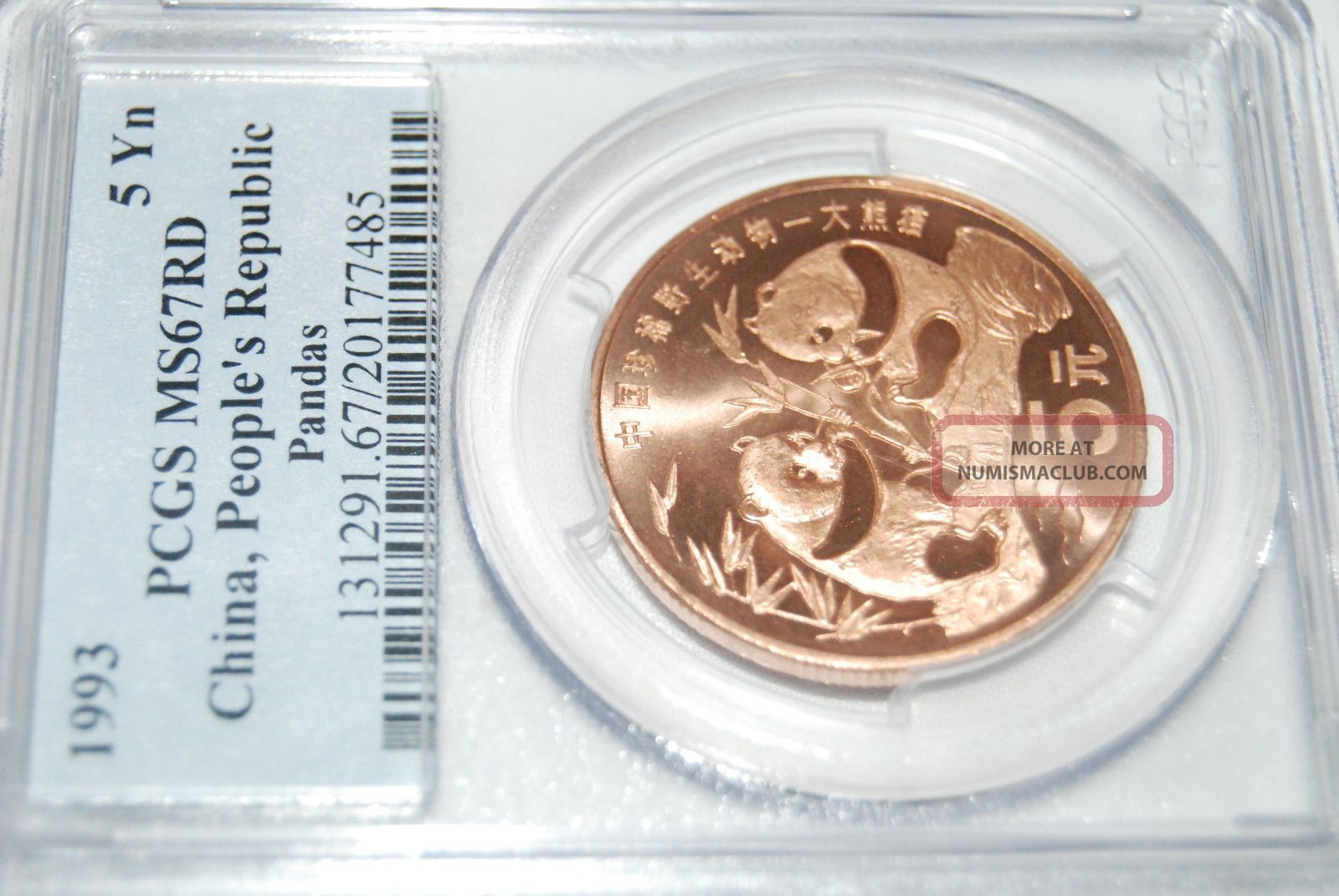 1993 China Panda C5y Pcgs Ms67 Rd Copper Coin China photo