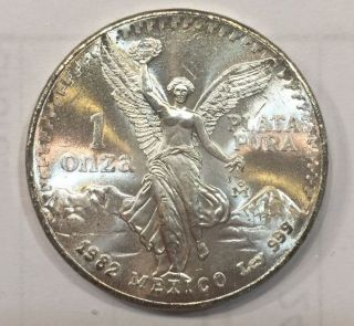 1982 Silver Mexican Libertad 1 Onza Plata Pura 1 Oz.  999 From Tube photo
