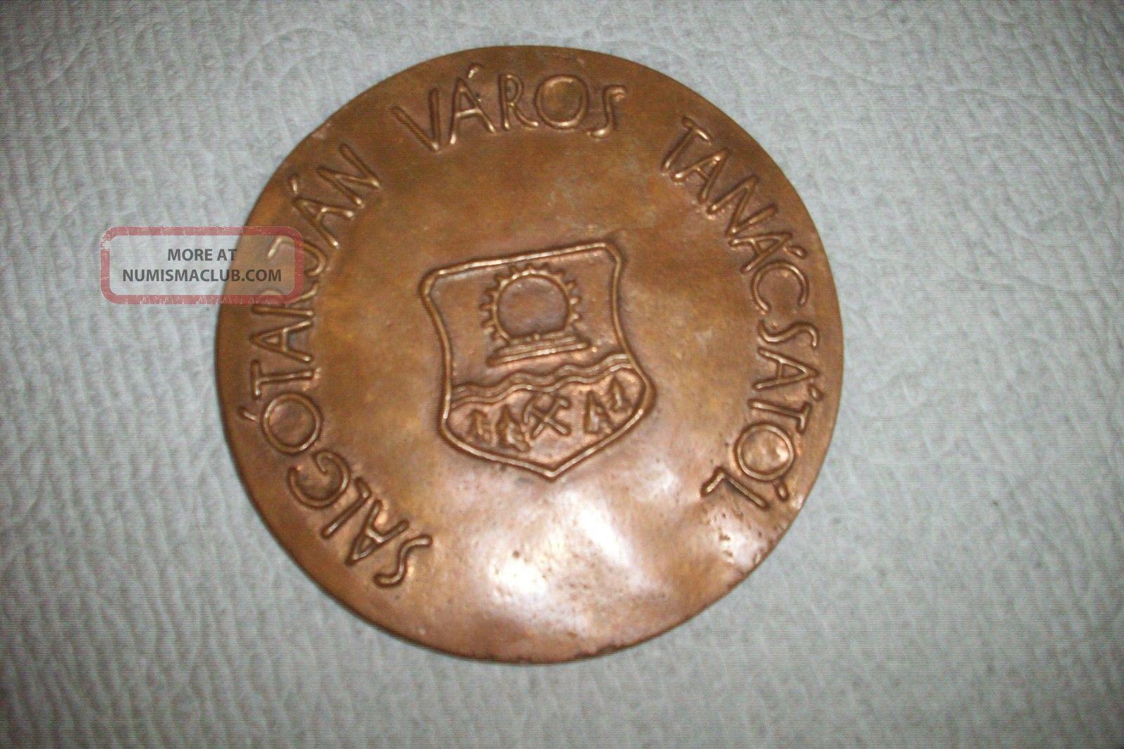 Hungary Salgotarjan Varos Tanacsatol Extra Large Bronze Medal Exonumia photo