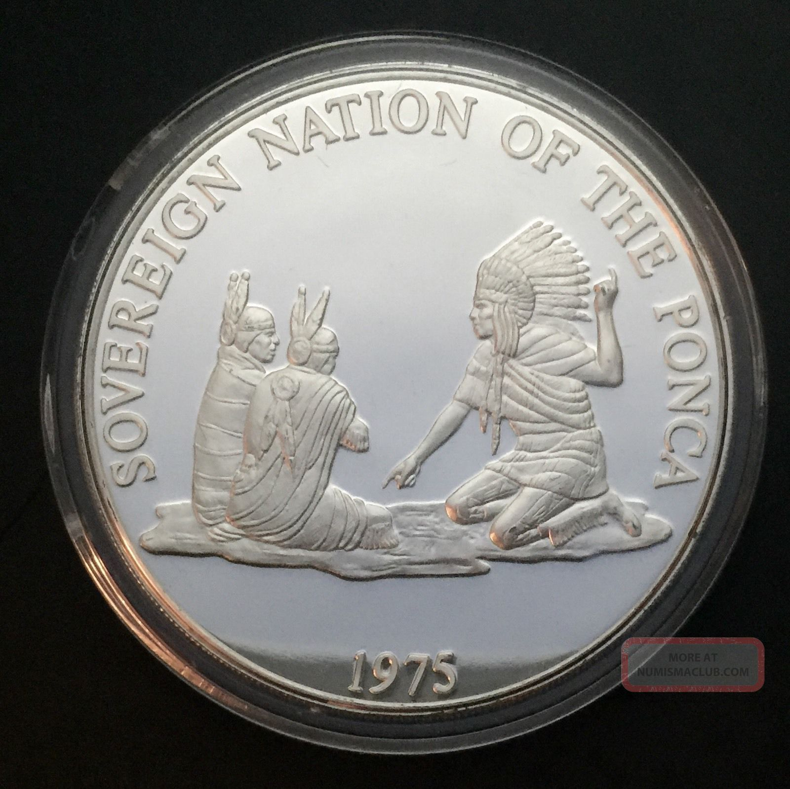 1975 Sovereign Nation Of The Ponca Indian Tribal Series Proof.  999 Silver Coin Silver photo