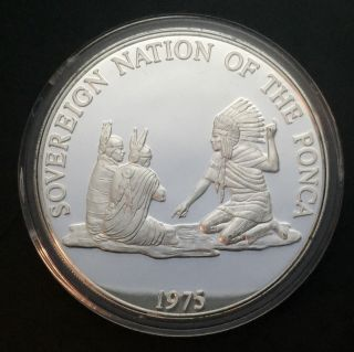 1975 Sovereign Nation Of The Ponca Indian Tribal Series Proof.  999 Silver Coin photo