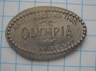 Olympia Elongated Nickel Not Penny Wa Usa Cent Artesians Smashed Souvenir Coin photo