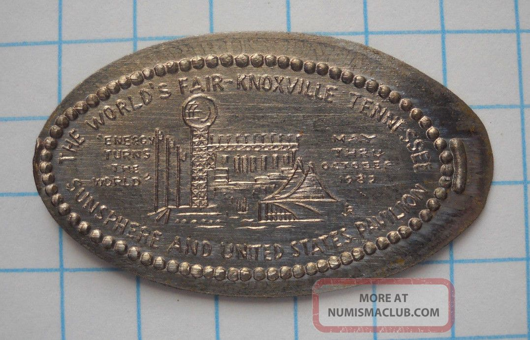 World ' S Fair Elongated Nickel Not Penny Knoxville Tn Usa Cent ' 82 Souvenir Coin Exonumia photo